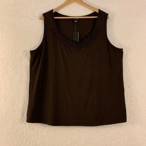 Grace Sleeveless Top Size 3X Brown NWT